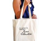 I'd rather be reading Jane Austen canvas tote bag
