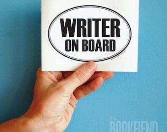 writer on board oval decal bumper sticker