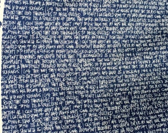 Architextures text navy Carolyn Friedlander Robert Kaufman fabric FQ or more