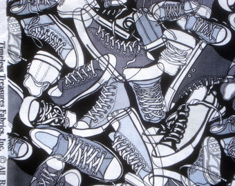 SALE : Sneakers gray Tennis shoes Timeless Treasures fabric FQ