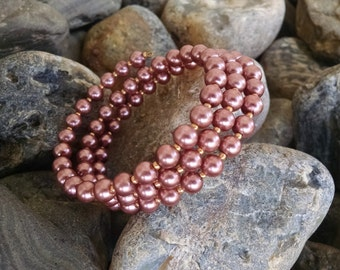 Just Me- mauve/dark pink glass beaded bracelet