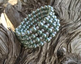 Mint Breeze- four strand mint metalic green beaded wrap around bracelet