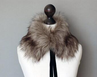 Grey beige faux fur collar. Winter neck warmer. Fur scarf. Buy faux fur collar