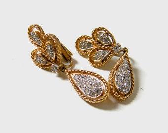 Vintage Panetta goldtone and rhinestone teardrop earrings