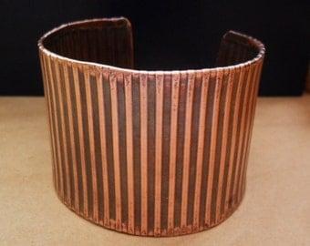 Wide Corrugated Copper Mens or Womens Cuff Bracelet, Textured Copper Cuff, Wide Metal Cuff