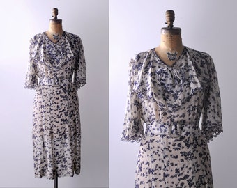 30's chiffon dress. ruffled. 1930 ivory and blue dress. floral print. butterfly sleeves. 30 large dress.