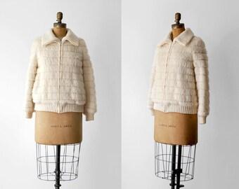 70's wool jacket. 1970 zipper coat. m. fuzzy wool. faux fur. 70's cream jacket. shag.