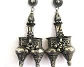RESERVED-Antique Indian Earrings, Silver Twin Nagali Earrings, worn Married Dhebaria Rabari Women, Pushka, Rajasthan,18.6 Grams