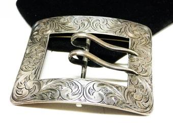 Sterling Buckle Brooch - Signed La Pierre Sterling Sash Buckle Pin - Sterling Silver Art Nouveau - Victorian Era Design