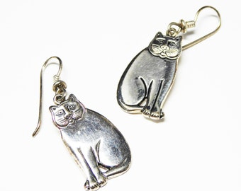 Silver Cat Earrings for Pierced Ears signed Laurel Burch - Dangling Kitty Cats on Fish Hook Style Pierced Earrings - Vintage 1980's - 1990's