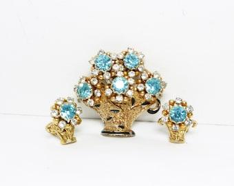 Rhinestone Flower Basket Brooch & Earrings Set - Vintage Turquoise Rhinestones 1950's Mid Century