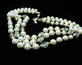 Pearlescent Multi Strand Beaded Necklace - Three Strands of White Beads and Faceted Crystals - Vintage 1950's Pearlescent Multistrand