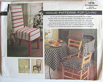 Vintage 90s 4 Styles of Chair Covers and Square Table Topper Vogue 1216 Sewing Pattern UNCUT