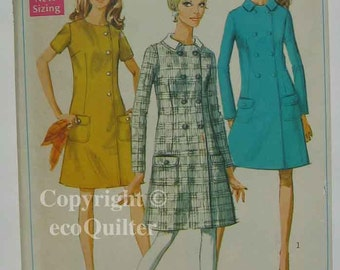 RARE Vintage 60's Misses' Coat Front Double Breasted Dress with Detachable Collar Simplicity 7854 Sewing Pattern Size 10 Cut and Complete