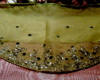 Antique Fabric Silk Beaded Lime Green 1920s Dress Remnant