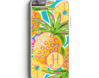 Preppy Pineapple Custom Monogrammed Personalized Phone Case Custom Phone Case Personalized iPhone Case Samsung S6 Case Custom Case Pineapple