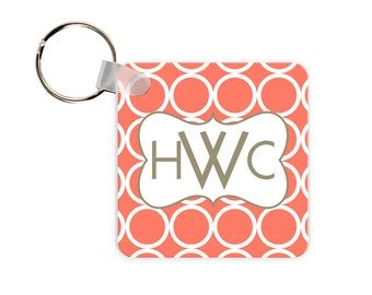 Hoops Personalized Square, Round or Rectangle Key Chain