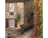 "Fine Art Color French Travel Photography of Village in France - ""Quiet Lane in Beynac"""