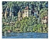 Fine Art Digital Print on Watercolor Paper of La Roque Castle and Boat