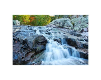 "Fine Art Color Nature Photography of Waterfall in Missouri Ozarks - ""Rocky Falls 1"""