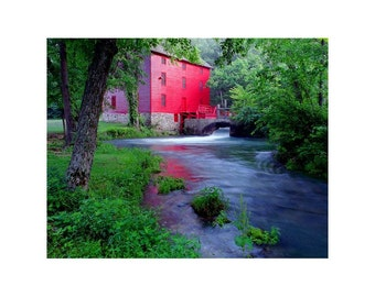 Fine Art Color Rural Americana Photography of the Old Red Mill at Alley Spring