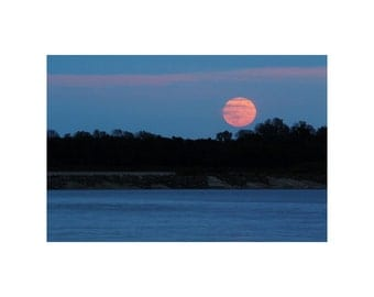 Fine Art Color Landscape Photography of Full Moon Rising Over the Mississippi River
