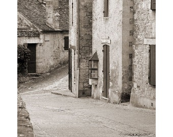 """Fine Art Sepia Photography of French Village - """"Deserted Street in Beynac"""""""