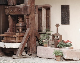 Fine Art Color Travel and Wine Photography of Old Wooden Wine Press in Alsace France - Square Print