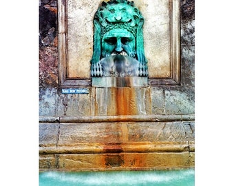 """Fine Art Color Photography of Fountain Provence - """"Arles Fountain Detail"""""""