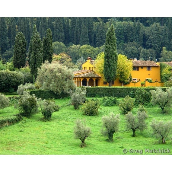 """Fine Art Color Landscape Photography of Tuscany - """"Yellow Farmhouse in Tuscany"""" 14x11 Print"""