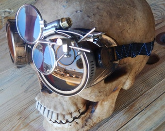STEAMPUNK GOGGLES - Antique Brass Gold Distressed-Look Cyber Welders Goggles with Removeable Magnifying Eye Loupes - Burning Man Goggles