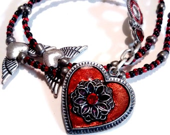 Heart Pendant Necklace - Get Your Wings Necklace