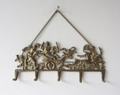 Vintage Neoclassical Brass Wall Hanging Hook