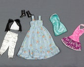 Barbie fashion clothes 6 pieces Long blue Cotton sun dress White satin capri pants top stitched in black matching tube top with black bodice