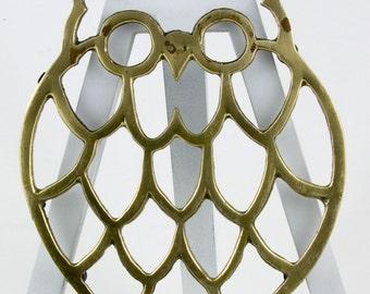 Vintage Boho Brass Owl Trivet Brass Owl Wall Decoration