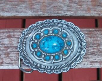 Vintage Beautiful Oval Faux Turquoise Western Belt Buckle