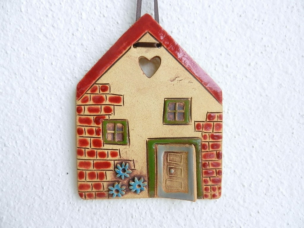 Ceramic House Wall Hanging Clay Housepottery By Potteryhearts