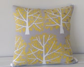 Cushion Cover: Grey with White and Yellow Trees