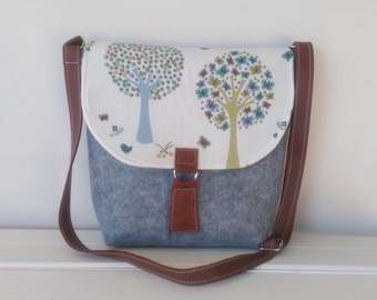 Messenger Bag:  Felt and Leather and Fabric