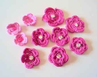 Set of 9 - Handmade Crochet Flowers Crochet Appliques Gift Decorations Handmade Flowers Embellishment