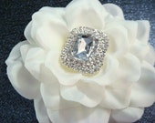 Bridal white hair flower with rhinestones / vintage art deco wedding / glamorous white flower clip rhinestone flower comb