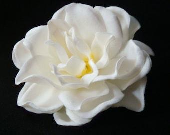 Bridal Gardenia Hair Comb / wedding flower comb / flower hair comb pin clip / bridal flower comb fascinator / cream ivory white flower