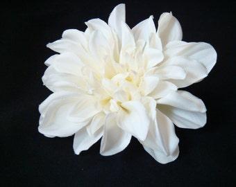 REALISTIC cream white flower hair clip, comb, brooch pin / 4inch wedding hair flower / white bridal flower / dahlia clip peony clip