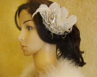 Vintage style headpiece / peacock wedding headpiece peacock feather rhinestone hair clip flapper 1920s inspired gatsby party