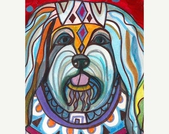 Marked Down 50% - Havanese art dog Poster Print of painting by Heather Galler (HG510)