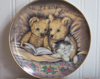 Vintage Bedtime Story Plate, Franklin Mint, Teddy Bear Kitty Car Plate, Limited Edition Numbered, Sue Willis Artist, Heirloom Recommendation