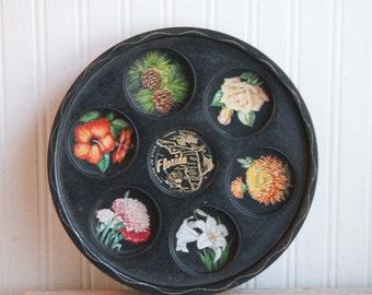 Vintage Florida Serving Tray with Souvenir Coasters, Florida Map, Kitsch Centerpiece, Florida Souvenir, Tropical Decor,