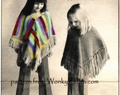 Vintage Crochet Ponchos Striped and Plain Pattern Crocheting Crochetted Patterns PDF 811 from WonkyZebra