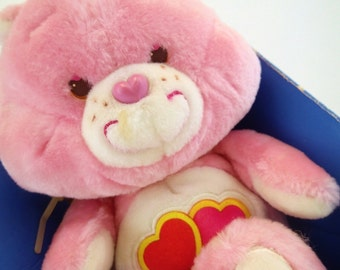 Vintage MIB Care Bears Love a Lot Bear Pink Plush Original 80s Toy Kenner Cousins Easter Spring Pastel Baby pink hearts