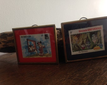 2 Framed collectables Disney POSTS STAMPS 1982 and 1988